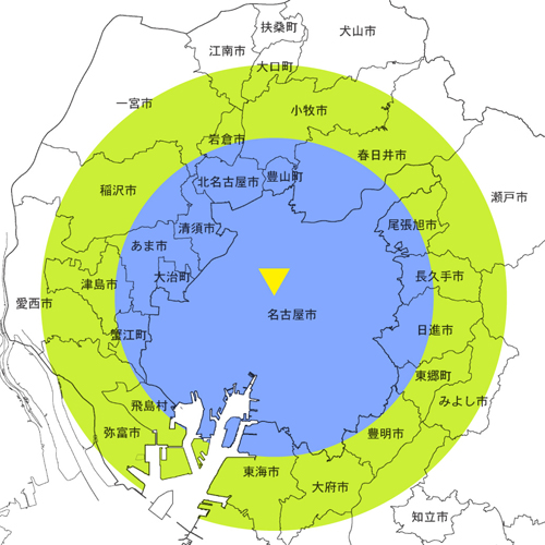 名古屋出張エリアマップ